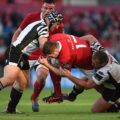 Limerick , Ireland - 1 October 2016; James Cronin of Munster is tackled by Carlo Festuccia, left, and Andrea Lovotti of Zebre during the Guinness PRO12 Round 5 match between Munster and Zebre at Thomond Park in Limerick. (Photo By Diarmuid Greene/Sportsfile via Getty Images)